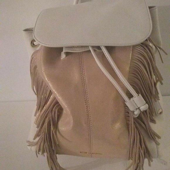 Vera Bradley Fringed Purse Leather Amy  White Pin